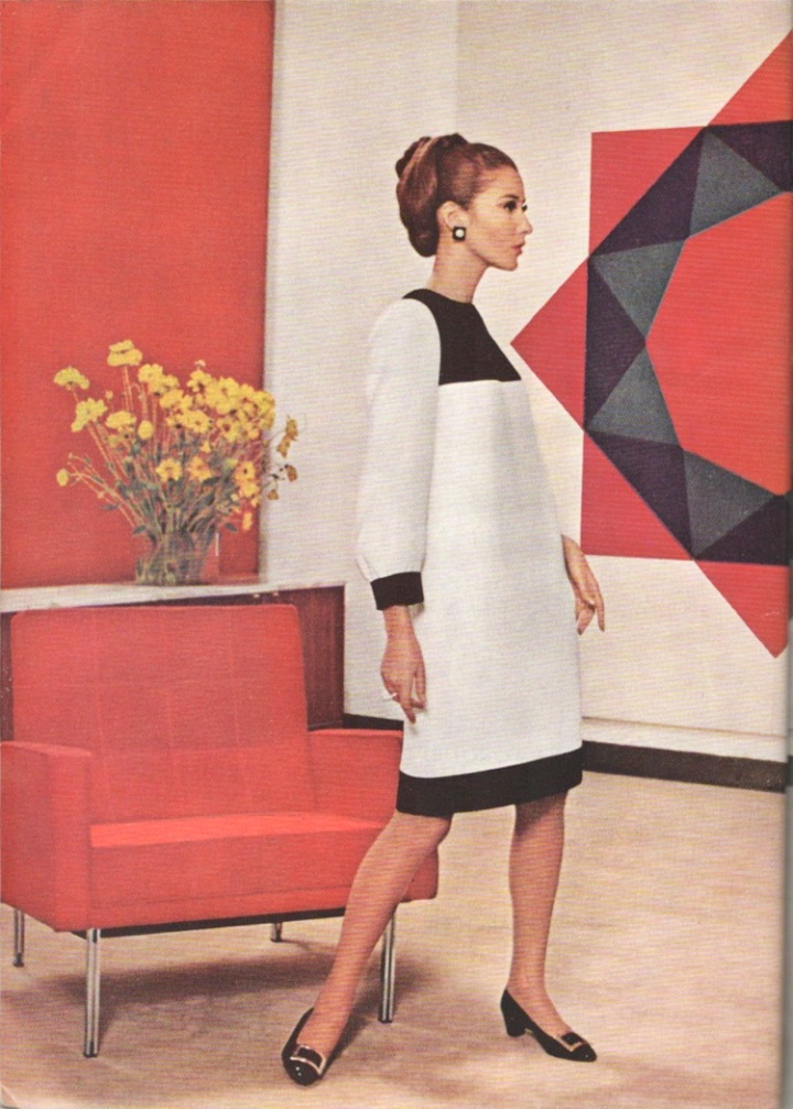 1960s Yves Saint Laurent shift dress Vogue 1556 in Vogue Pattern Book