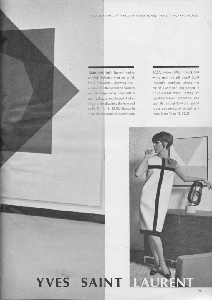 1960s Yves Saint Laurent Mondrian dress 1557 in Vogue Pattern Book