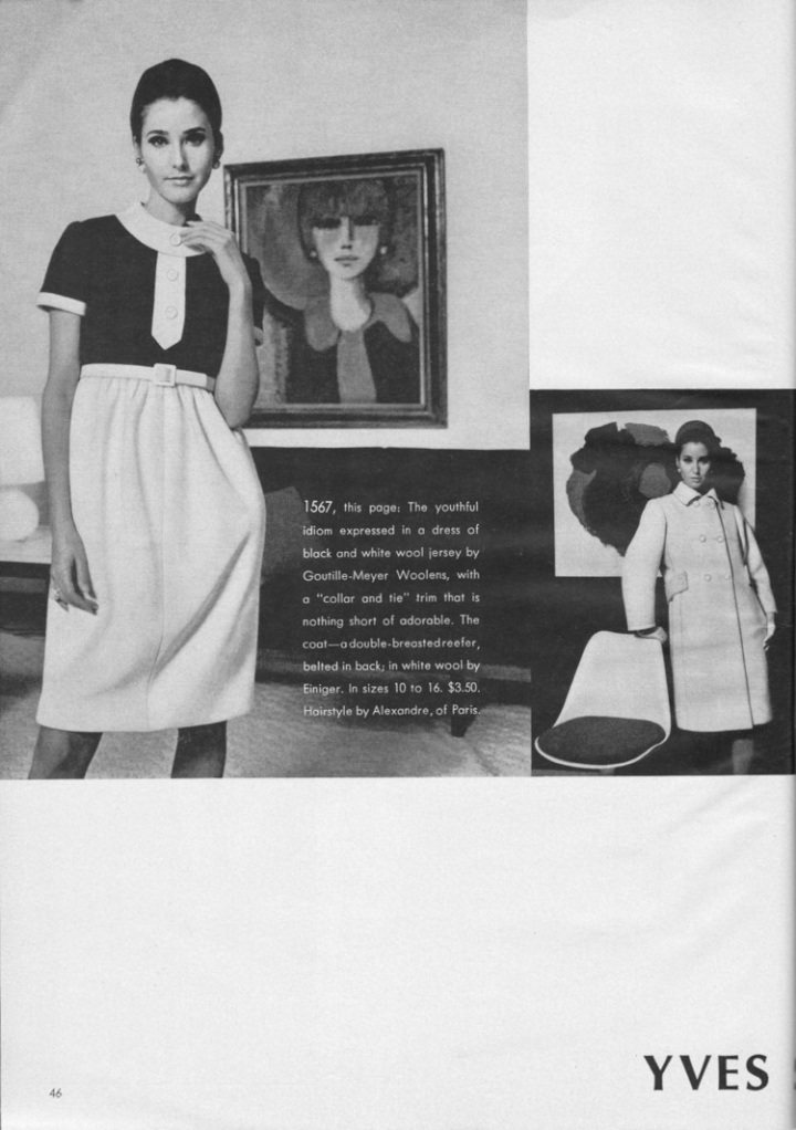 1960s Yves Saint Laurent dress and coat 1567 in Vogue Pattern Book