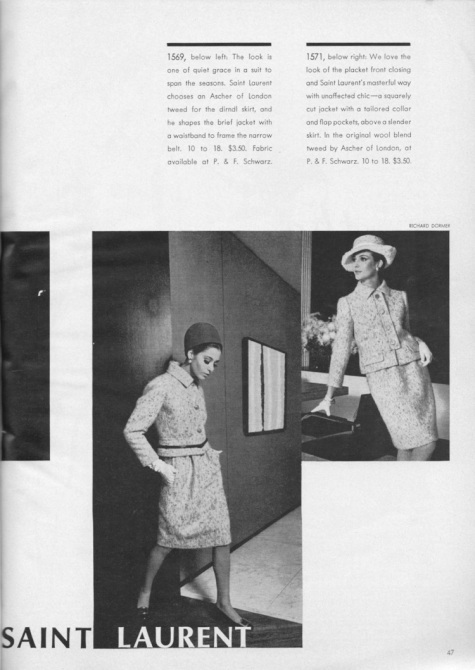 1960s Yves Saint Laurent suits 1569 and 1571 in Vogue Pattern Book