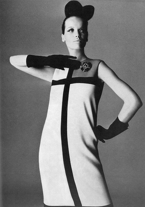Veruschka photographed by Irving Penn in a Mondrian dress for British Vogue, September 1965