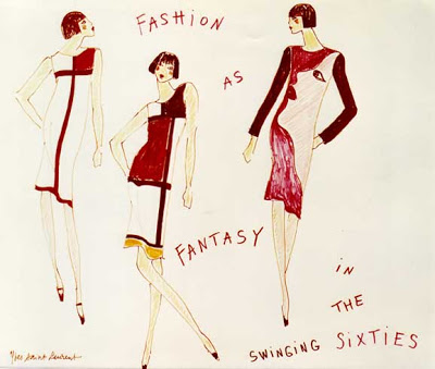 Yves Saint Laurent sketch of Mondrian and Pop-art dresses