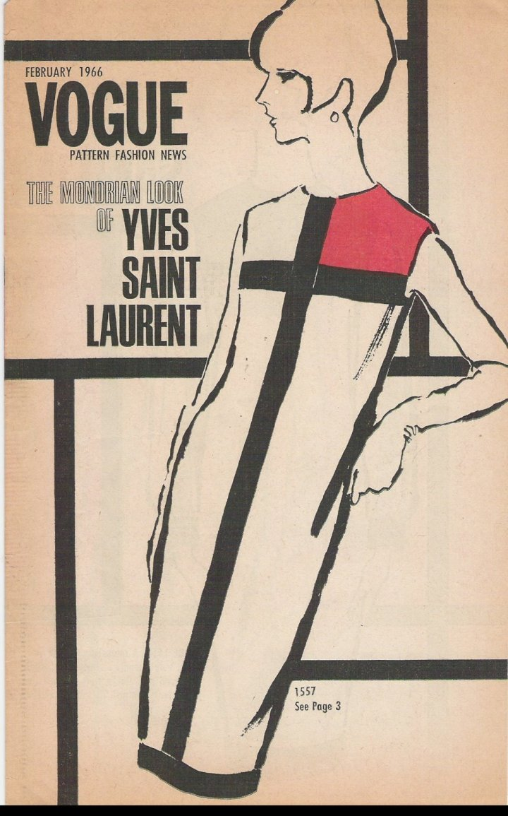 Yves Saint Laurent's Vogue 1557 illustrated on the cover of Vogue Pattern Fashion News, February 1966