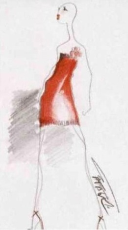 Alber Elbaz sketch for Guy Laroche L'Officiel 813