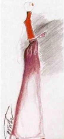 Alber Elbaz sketch for Guy Laroche, L'Officiel no. 813 (March 1997)