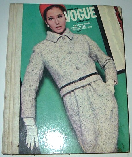 Yves Saint Laurent suit pattern Vogue 1569 on the cover of Vogue Patterns catalogue, March 1966