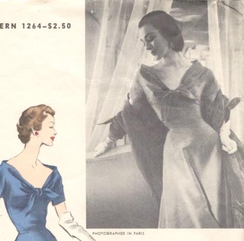 1950s dress pattern detail Vogue 1264 by Elsa Schiaparelli