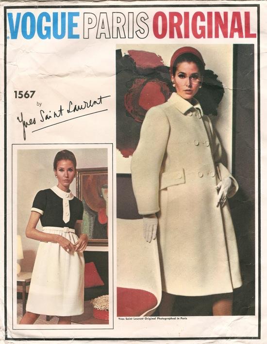 1960s Yves Saint Laurent dress and coat pattern - Vogue 1567