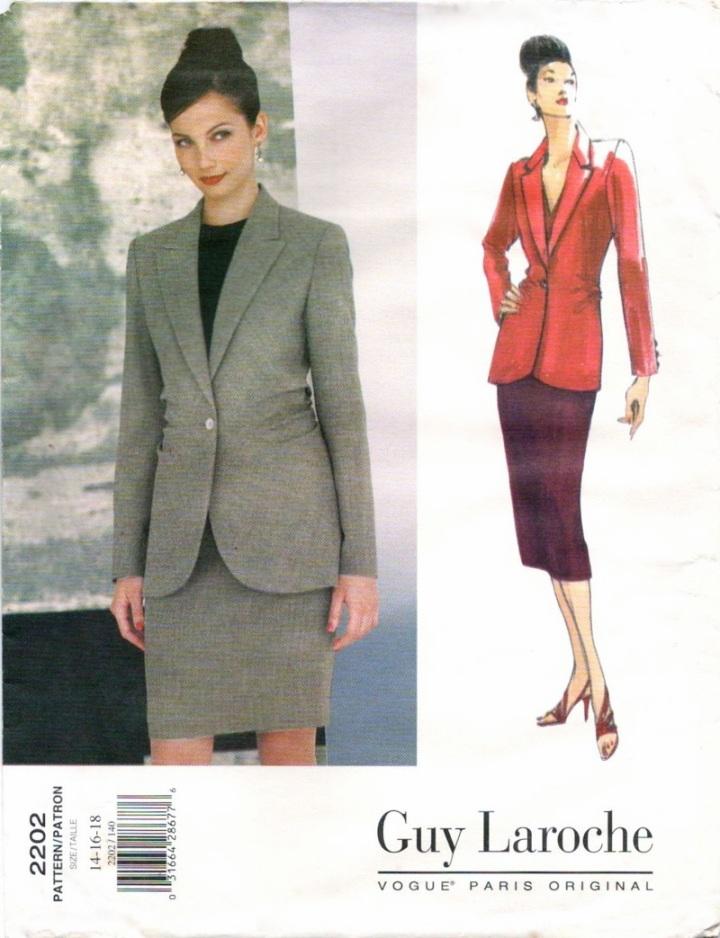 1990s Alber Elbaz for Guy Laroche bias skirt suit pattern - Vogue 2202