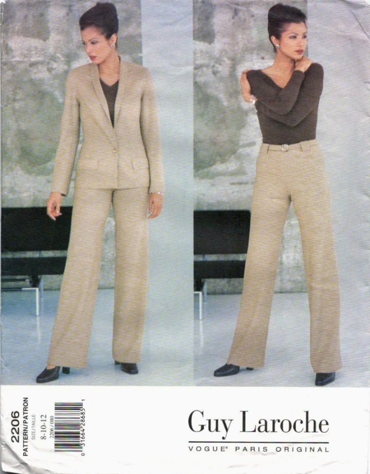 1990s Alber Elbaz for Guy Laroche pantsuit pattern - Vogue 2206