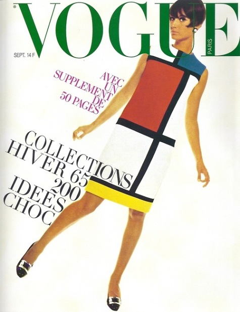 Yves Saint Laurent's Mondrian dress photographed by David Bailey for the cover of Vogue Paris, September 1965