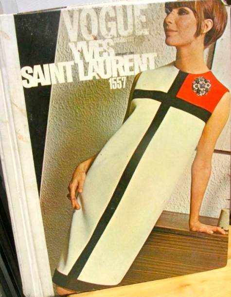 Yves Saint Laurent Mondrian dress pattern Vogue 1557 on the cover of Vogue Patterns catalog, February 1966