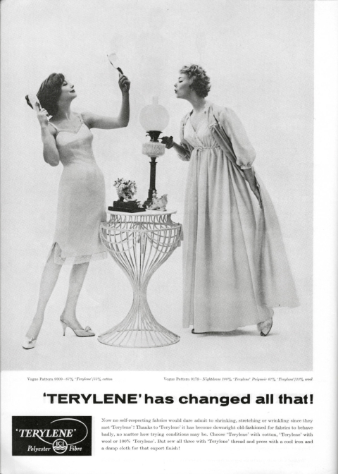 Terylene polyester fibre advertisement 1959 vintage textile ad ICI Vogue 9309 slip Vogue 9179 nightdress and peignoir