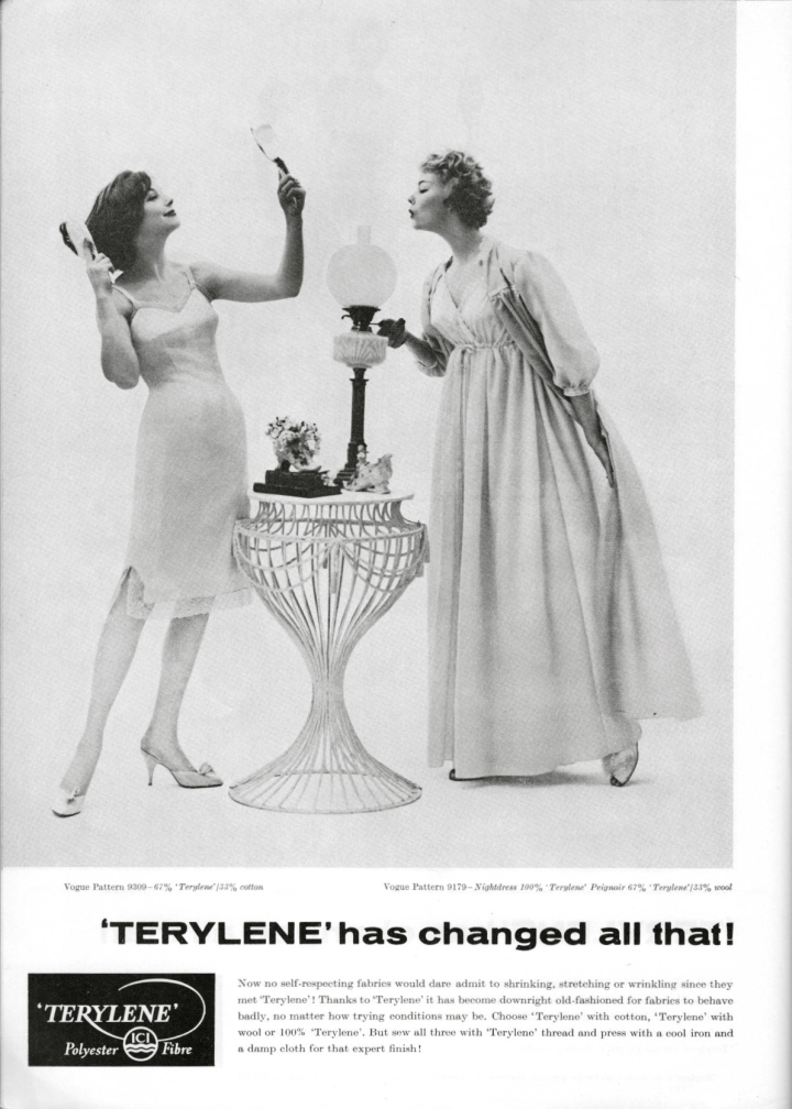 """'TERYLENE' has changed all that!"" Vogue 9309 slip Vogue 9179 nightdress and peignoir in a polyester fibre - 1959 advertisement"