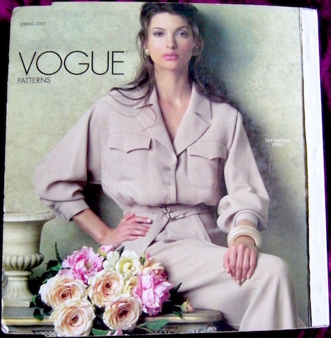 V2955 by Hervé L. Leroux for Guy Laroche on the cover of the Vogue Patterns catalogue, Spring 2007