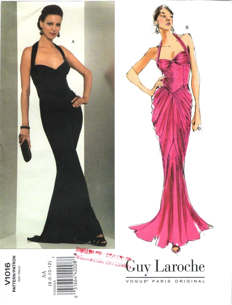 7e8add339f4 Vogue V1016 evening dress pattern by Hervé L. Leroux for Guy Laroche