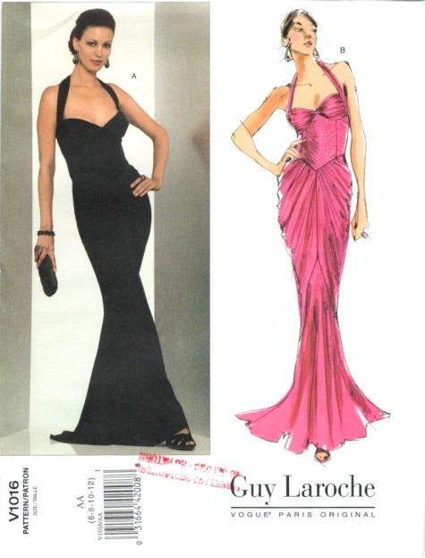 Vogue V1016 evening dress pattern by Hervé L. Leroux for Guy Laroche