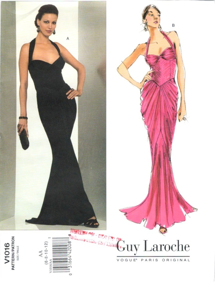 Vogue V1016 evening dress pattern by Hervé L. Leroux for Guy Laroche