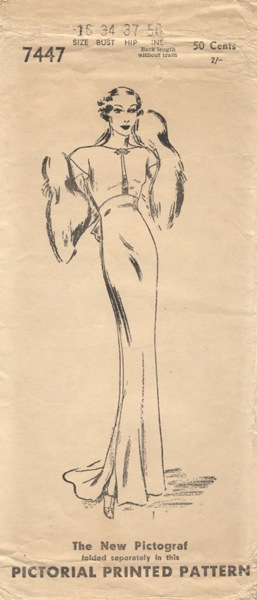 Pictorial 7447 1930s bias evening gown pattern