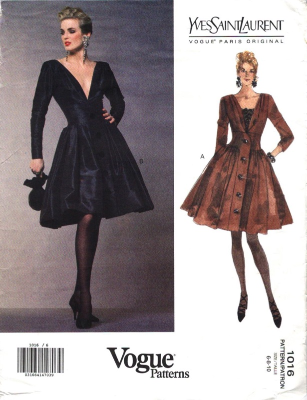 1990s Rive Gauche Yves Saint Laurent dress pattern - Vogue Paris Original 1016