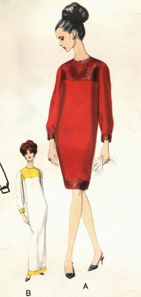 Sequin contrast dress illustration Vogue 1556 back 1960s