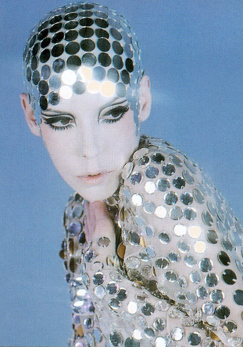 Peggy Moffitt models a Rudi Gernreich jumpsuit and skullcap, 1969