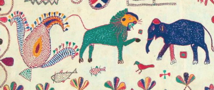 Hand-embroidered animals on a Bengali kantha at the Textile Museum of Canada