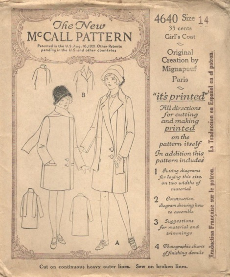 McCall 4640 1920s girl's coat designer pattern by Mignapouf