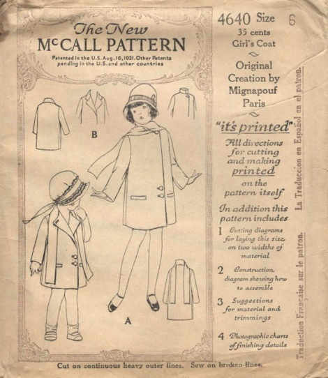 McCall 4640 1920s younger girl's coat designer pattern by Mignapouf