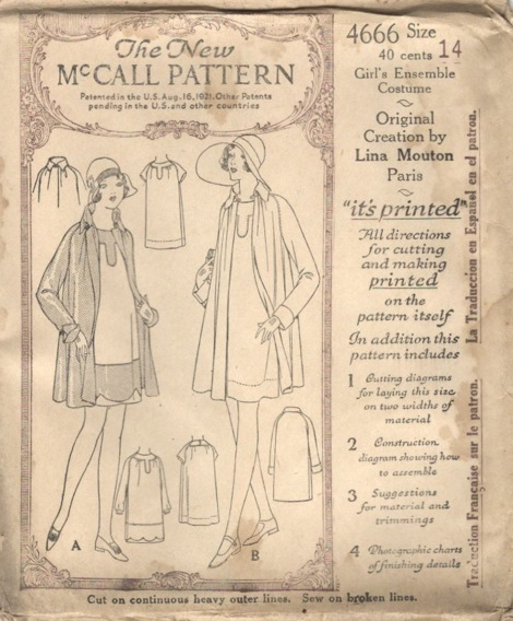 McCall 4666 1920s girl's dress and coat pattern by Lina Mouton