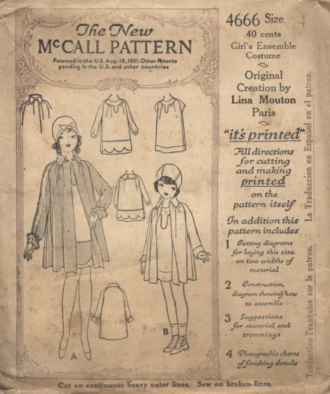 McCall 4666 small size 1920s ensemble costume pattern by Lina Mouton