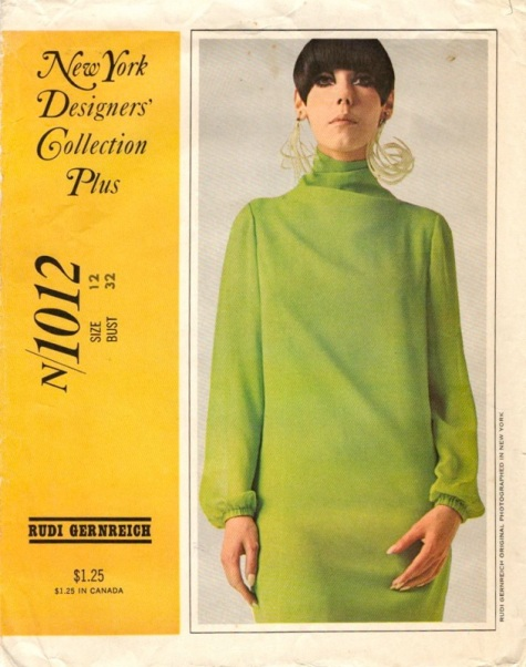 1960s Rudi Gernreich dress pattern modelled by Peggy Moffitt - McCall's 1012