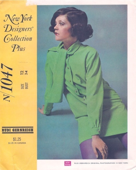 Green 1960s Rudi Gernreich mini dress pattern - McCall's 1047