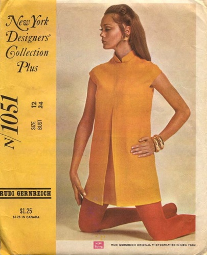 1960s saffron mini dress by Rudi Gernreich with inverted front pleat and mandarin collar - McCall's 1051
