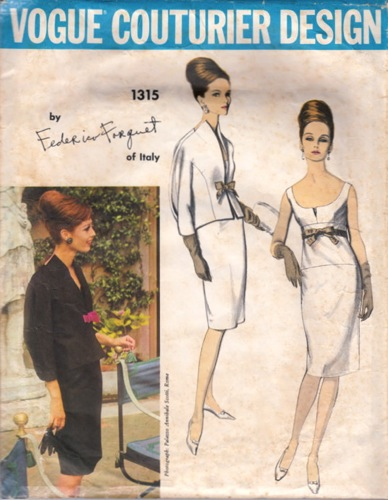 Vogue Couturier 1315 by Federico Forquet 1960s dress and jacket pattern