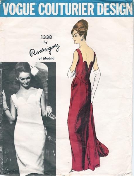 1960s Pedro Rodríguez evening dress and stole pattern - Vogue 1338
