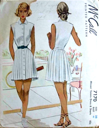 McCall 7170 1940s tennis dress and shorts pattern