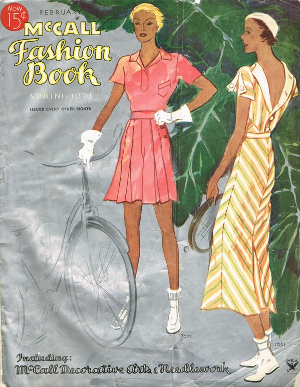 Cycling and tennis ensebles on the cover of McCall Fashion Book, Spring 1934