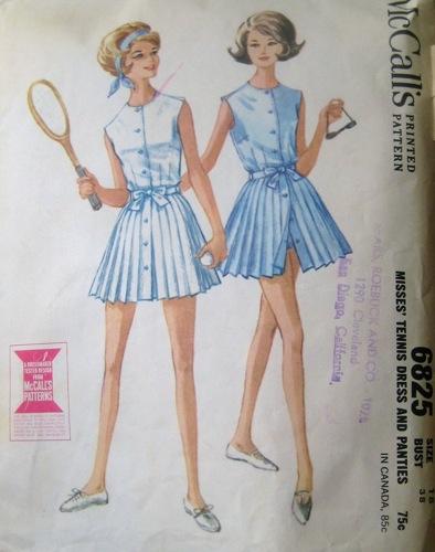 McCalls 6825 1960s tennis dress and panties pattern