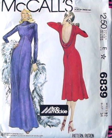 McCall's 6839 1970s Bob Mackie disco evening dress pattern