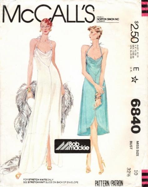 McCall's 6840 1970s Bob Mackie disco evening dress pattern