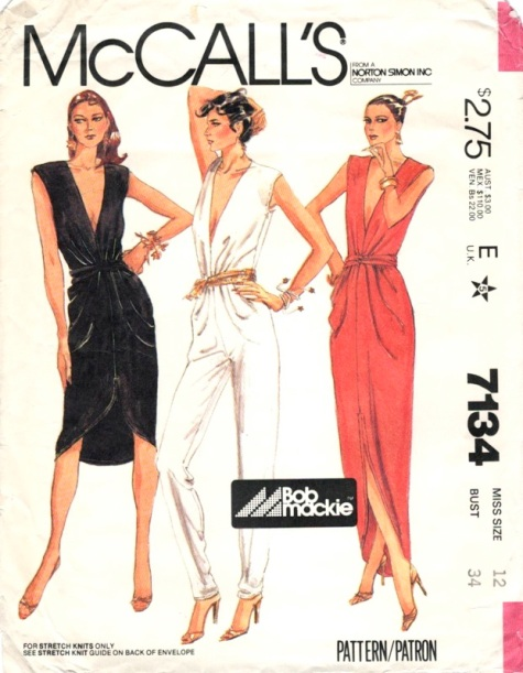 McCall's 7134 1980s Bob Mackie disco jumpsuit or evening dress pattern