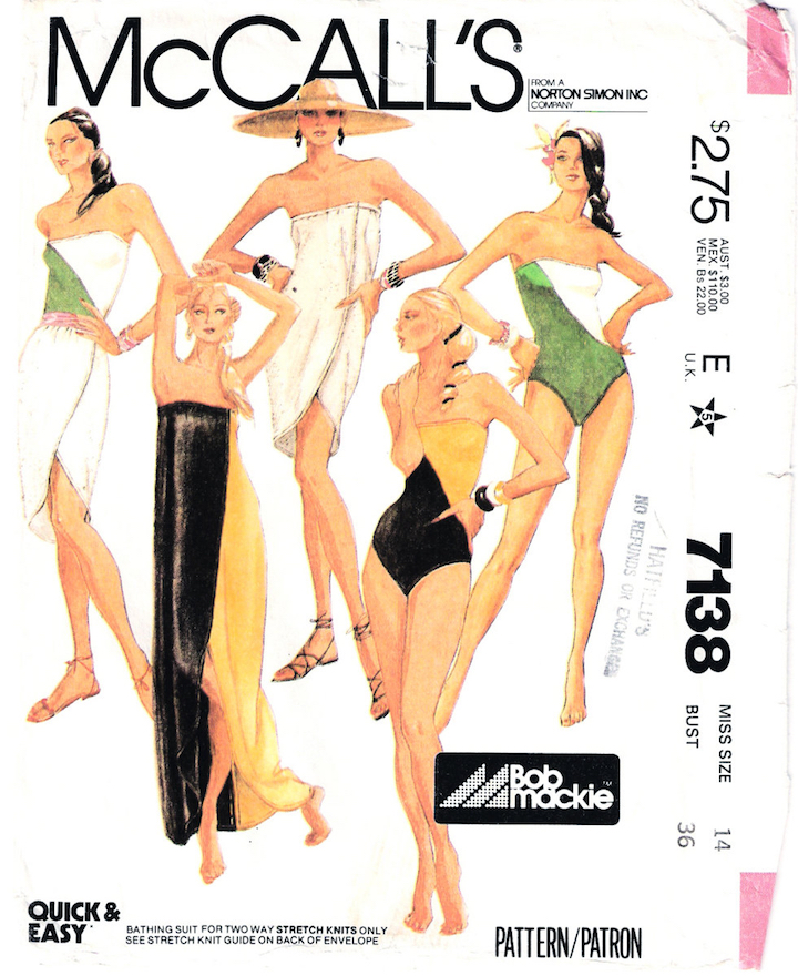1980 Bob Mackie strapless swimsuit and pareo pattern - McCalls 7138