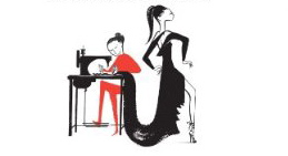 Ruben Toledo illustration of Isabel Toledo sewing