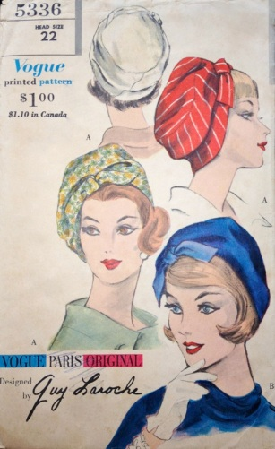 Vogue 5336 by Guy Laroche 1960s hat pattern
