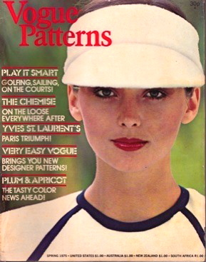 Model Regine Jaffrey in a tennis shirt and visor, Vogue Patterns magazine Spring 1975