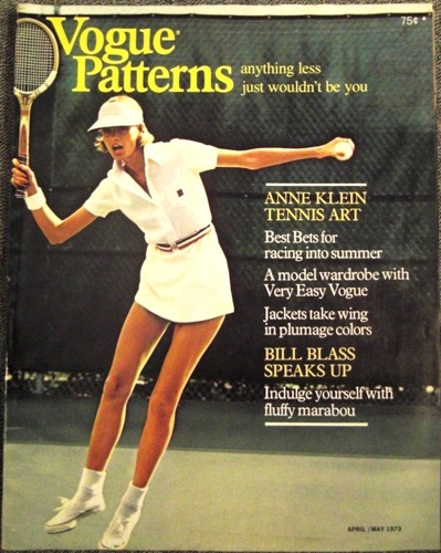 Vogue Patterns magazine April/May 1973 Anne Klein tennis cover