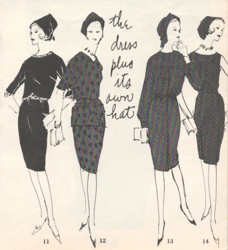 Vogue Pattern Book illustration August/September 1961 hats