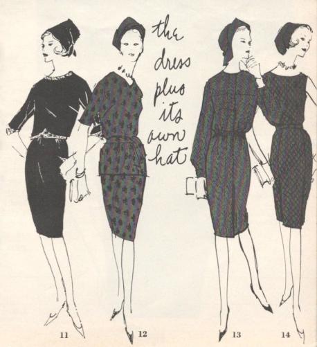 Vogue Pattern Book illustration August/September 1961 hats