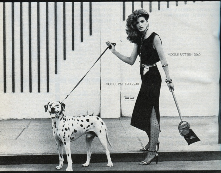 Vogue Patterns campaign image showing Gia Carangi walking a Dalmatian. Gia wears Vogue pattern 2060 by Yves Saint Laurent. From Vogue, November 1978